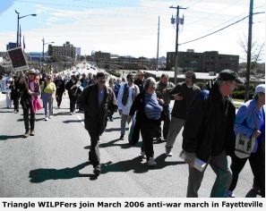 Triangle WILPFers join March 2006 anti-war march in Fayetteville