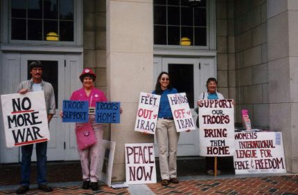 WILPF organized a vigil to protest the threats of a military attack on Iran in September, 2007, at Chapel Hill�s Peace and Freedom Plaza (old Chapel Hill Court House), gathering dozens of signatures on petitions opposing any such action.